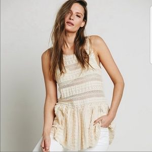 Intametely free people lace pucker up sheer blouse
